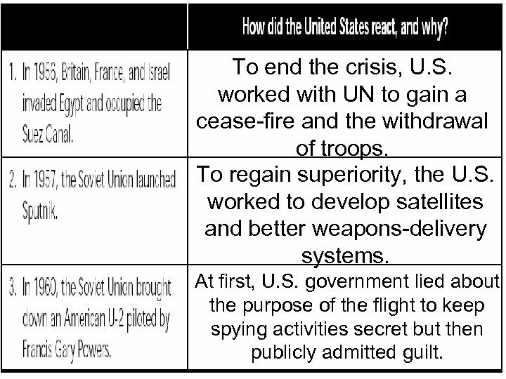 To end the crisis, U. S. worked with UN to gain a cease-fire and