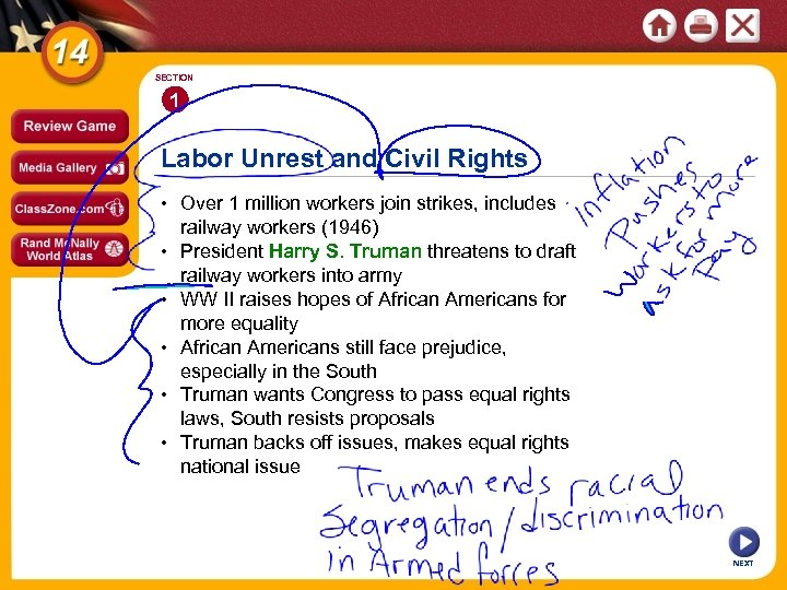 SECTION 1 Labor Unrest and Civil Rights • Over 1 million workers join strikes,