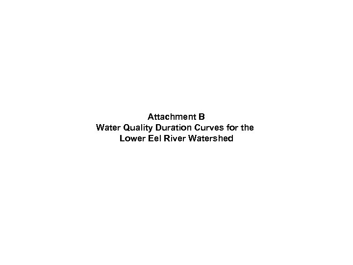 Attachment B Water Quality Duration Curves for the Lower Eel River Watershed