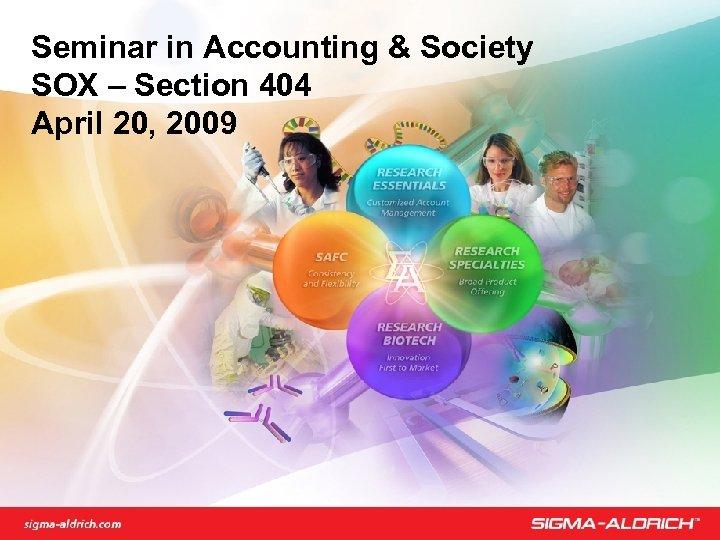 Seminar in Accounting & Society SOX – Section 404 April 20, 2009