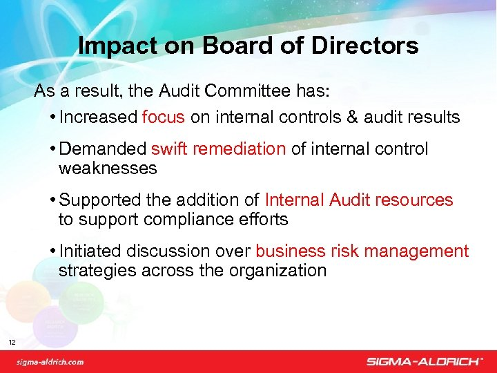Impact on Board of Directors As a result, the Audit Committee has: • Increased