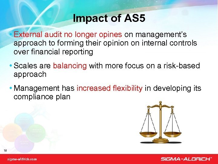 Impact of AS 5 • External audit no longer opines on management's approach to