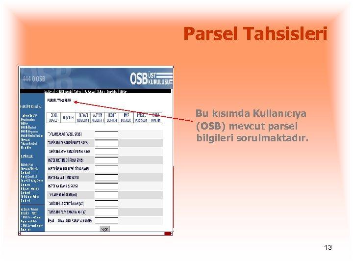Parsel Tahsisleri Bu kısımda Kullanıcıya (OSB) mevcut parsel bilgileri sorulmaktadır. 13