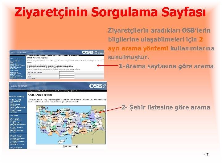 Ziyaretçinin Sorgulama Sayfası Ziyaretçilerin aradıkları OSB'lerin bilgilerine ulaşabilmeleri için 2 ayrı arama yöntemi kullanımlarına