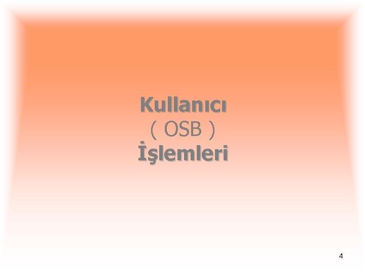 Kullanıcı ( OSB ) İşlemleri 4