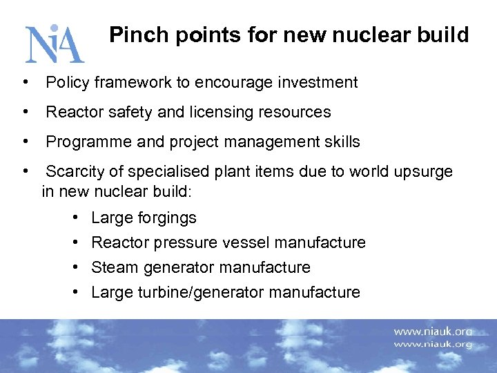 Pinch points for new nuclear build • Policy framework to encourage investment • Reactor