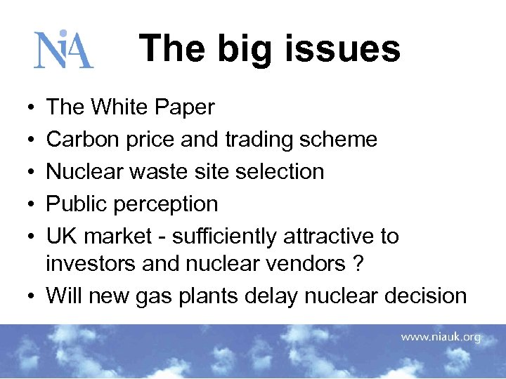 The big issues • • • The White Paper Carbon price and trading scheme