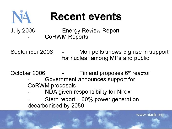 Recent events July 2006 - Energy Review Report Co. RWM Reports September 2006 Mori