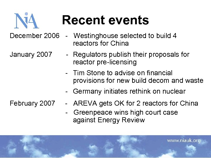 Recent events December 2006 - Westinghouse selected to build 4 reactors for China January