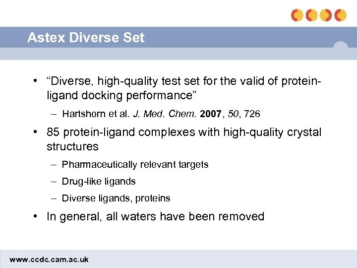 """Astex Diverse Set • """"Diverse, high-quality test set for the valid of proteinligand docking"""