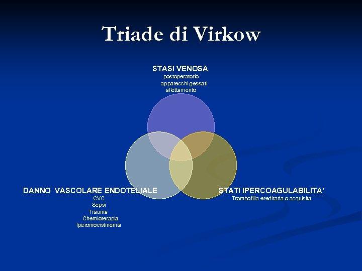 Triade di Virkow STASI VENOSA postoperatorio apparecchi gessati allettamento DANNO VASCOLARE ENDOTELIALE CVC Sepsi