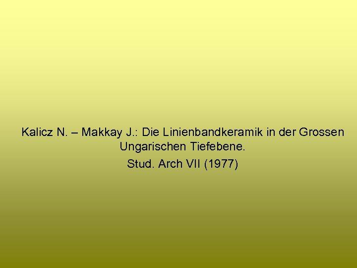 Kalicz N. – Makkay J. : Die Linienbandkeramik in der Grossen Ungarischen Tiefebene. Stud.