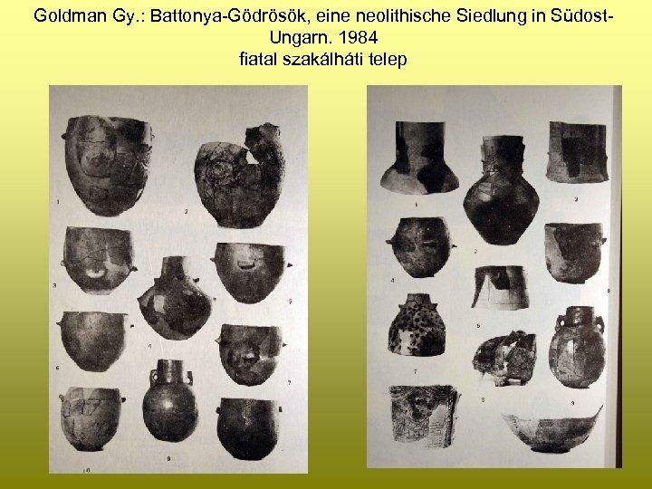 Goldman Gy. : Battonya-Gödrösök, eine neolithische Siedlung in Südost. Ungarn. 1984 fiatal szakálháti telep