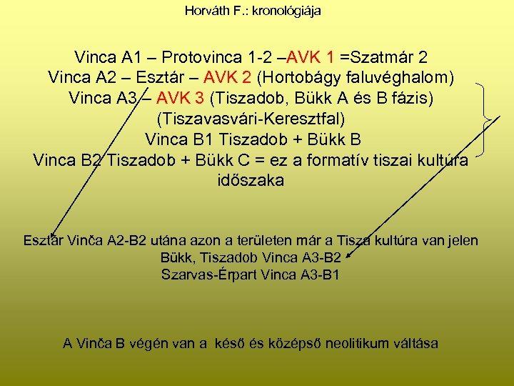 Horváth F. : kronológiája Vinca A 1 – Protovinca 1 -2 –AVK 1 =Szatmár
