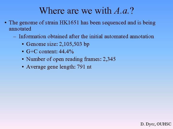 Where are we with A. a. ? • The genome of strain HK 1651