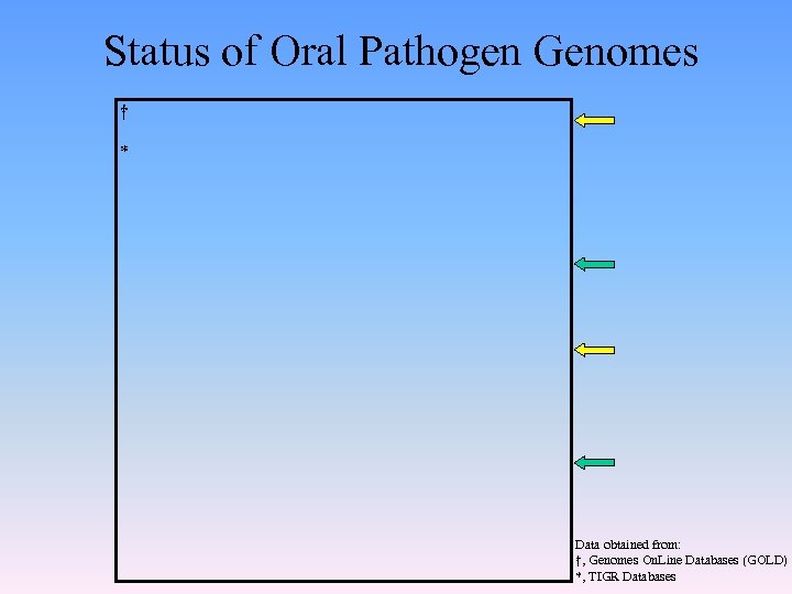 Status of Oral Pathogen Genomes † * Data obtained from: †, Genomes On. Line