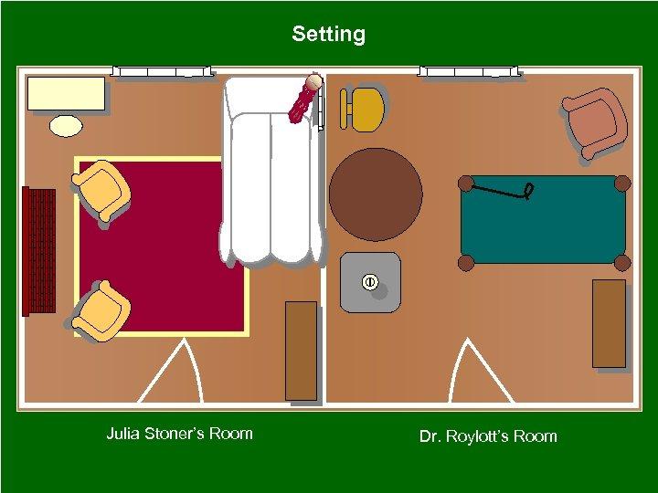 Setting Julia Stoner's Room Dr. Roylott's Room