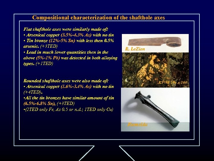 Compositional characterization of the shafthole axes Flat shafthole axes were similarly made of: •