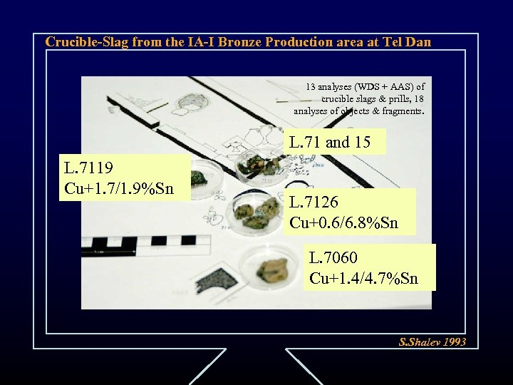 Crucible-Slag from the IA-I Bronze Production area at Tel Dan 13 analyses (WDS +