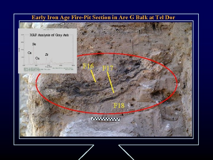 Early Iron Age Fire-Pit Section in Are G Balk at Tel Dor XRF Analysis