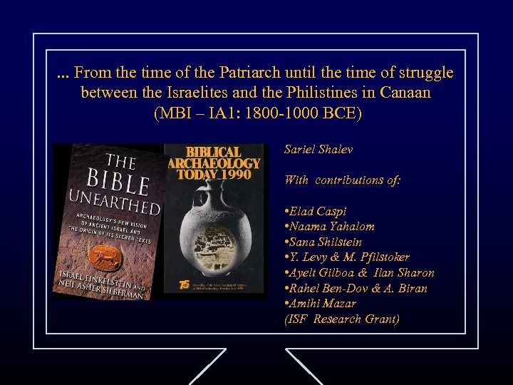 . . . From the time of the Patriarch until the time of struggle