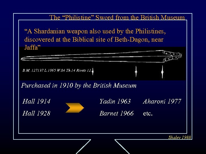 """The """"Philistine"""" Sword from the British Museum """"A Shardanian weapon also used by the"""