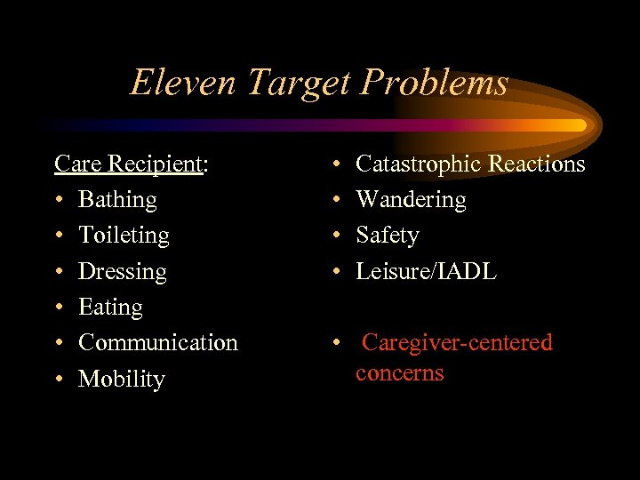 Eleven Target Problems Care Recipient: • Bathing • Toileting • Dressing • Eating •