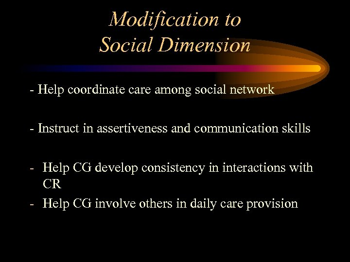 Modification to Social Dimension - Help coordinate care among social network - Instruct in