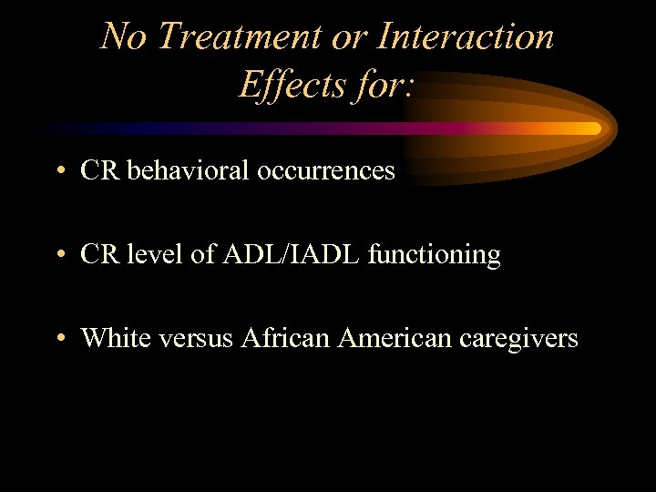 No Treatment or Interaction Effects for: • CR behavioral occurrences • CR level of