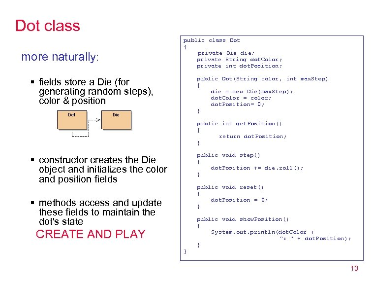 Dot class more naturally: public class Dot { private Die die; private String dot.