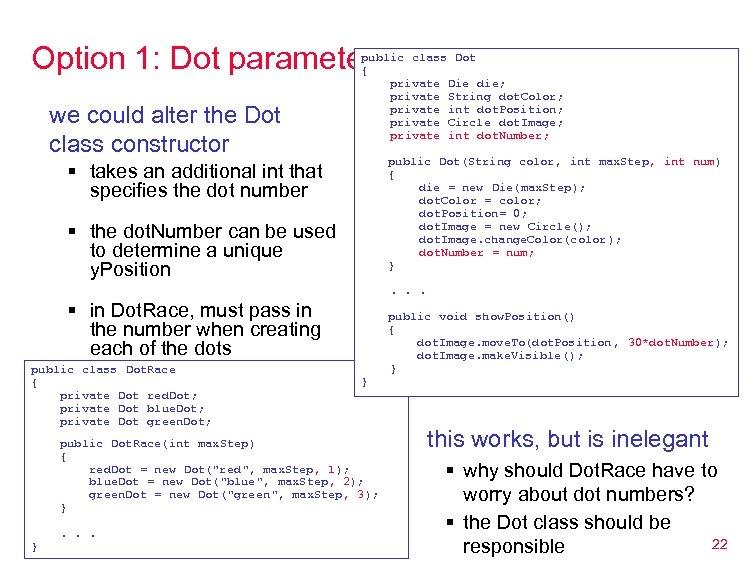 Option 1: Dot parameters we could alter the Dot class constructor public class Dot
