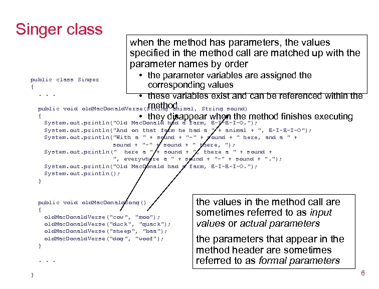 Singer class when the method has parameters, the values specified in the method call