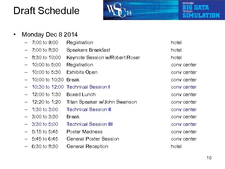 Draft Schedule • Monday Dec 8 2014 – – – – 7: 00 to
