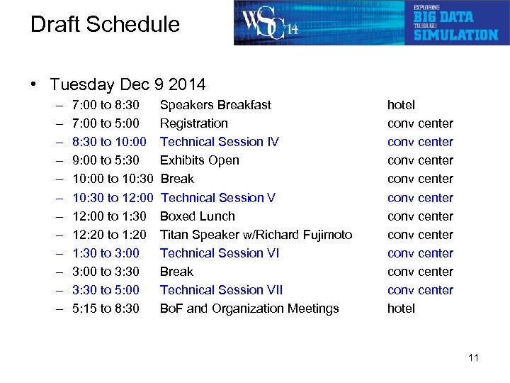 Draft Schedule • Tuesday Dec 9 2014 – – – 7: 00 to 8: