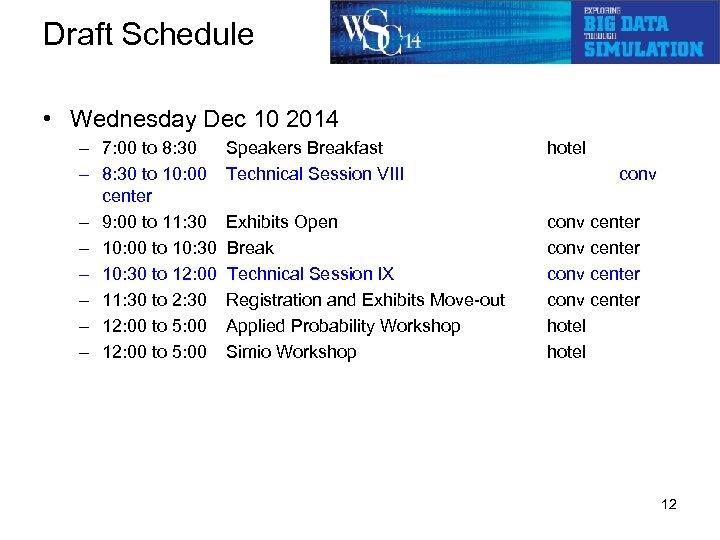 Draft Schedule • Wednesday Dec 10 2014 – 7: 00 to 8: 30 Speakers