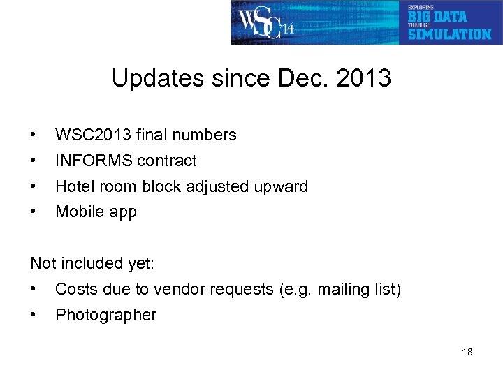 Updates since Dec. 2013 • WSC 2013 final numbers • INFORMS contract • Hotel