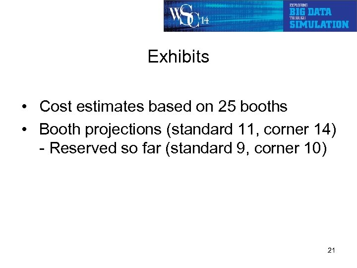 Exhibits • Cost estimates based on 25 booths • Booth projections (standard 11, corner