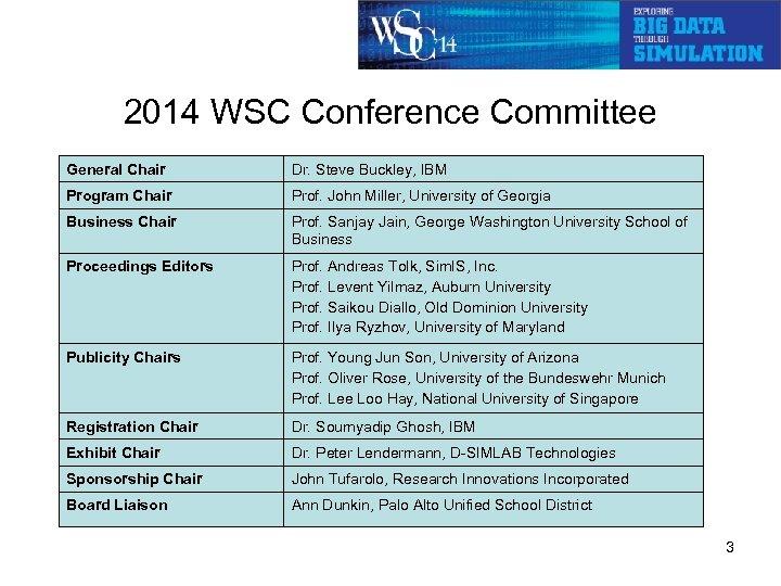 2014 WSC Conference Committee General Chair Dr. Steve Buckley, IBM Program Chair Prof. John