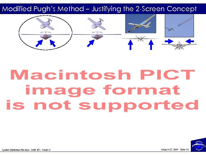 Modified Pugh's Method – Justifying the 2 -Screen Concept System Definition Review - AAE