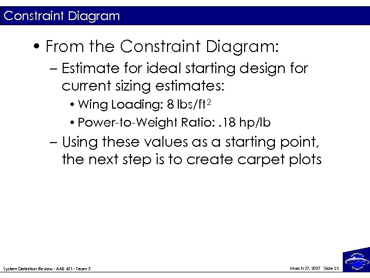 Constraint Diagram • From the Constraint Diagram: – Estimate for ideal starting design for