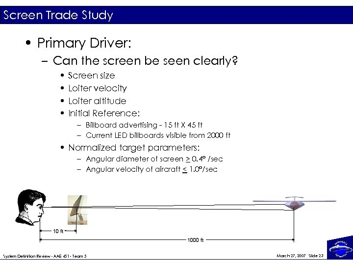 Screen Trade Study • Primary Driver: – Can the screen be seen clearly? •