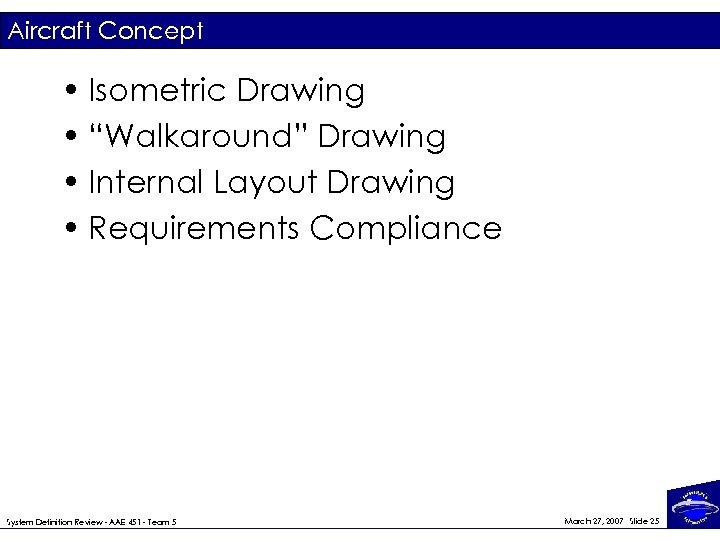 "Aircraft Concept • Isometric Drawing • ""Walkaround"" Drawing • Internal Layout Drawing • Requirements"