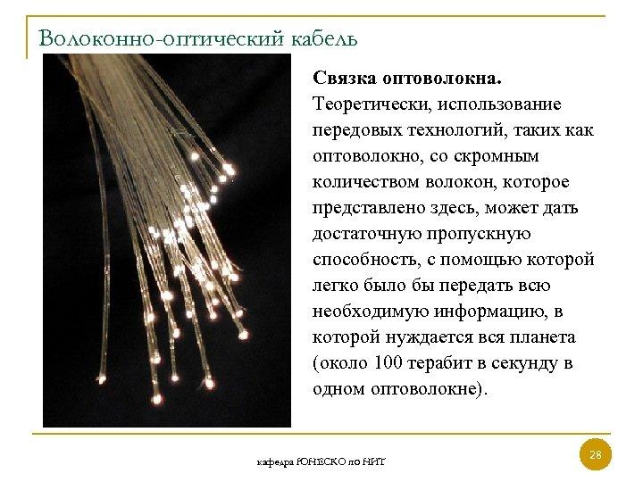 Волоконно-оптический кабель Связка оптоволокна. Теоретически, использование передовых технологий, таких как оптоволокно, со скромным количеством