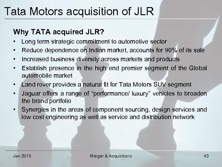 merger and aquisition tata chorus Merger and acquisitions have emerged as chief forces in the contemporary financial and economic environment they have been a source of corporate growth many in corporate india would be jealous of the tata group's strategy around mergers and acquisition in the past 8 years, the tata group.