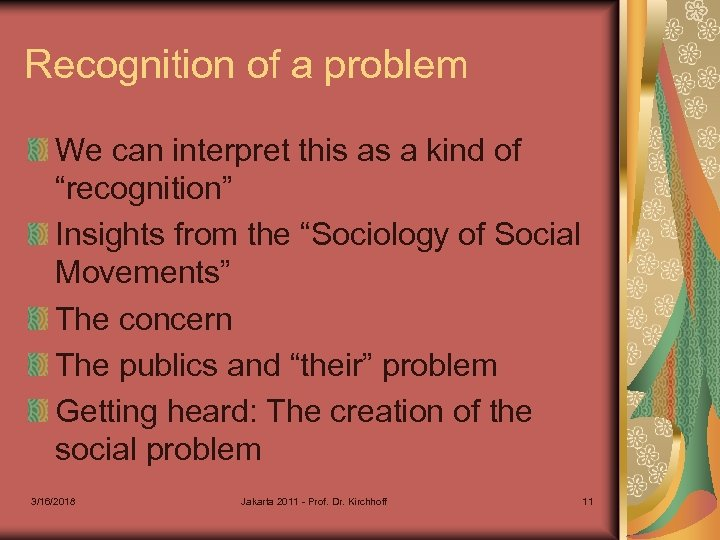 """Recognition of a problem We can interpret this as a kind of """"recognition"""" Insights"""
