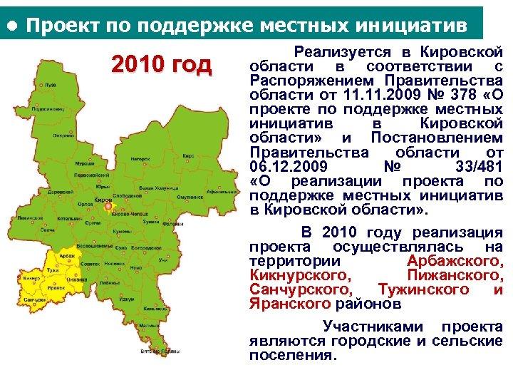 ● Проект по поддержке местных инициатив 2010 год Реализуется в Кировской области в соответствии