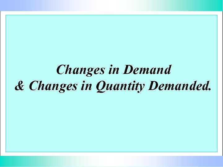Changes in Demand & Changes in Quantity Demanded.