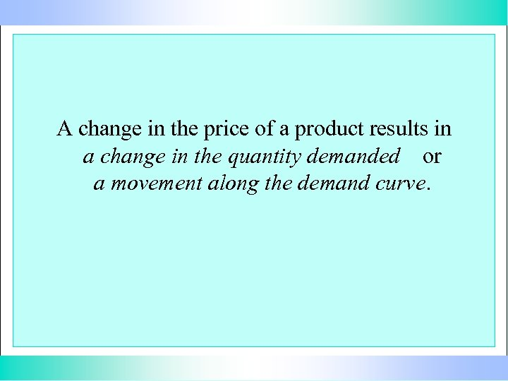 A change in the price of a product results in a change in the
