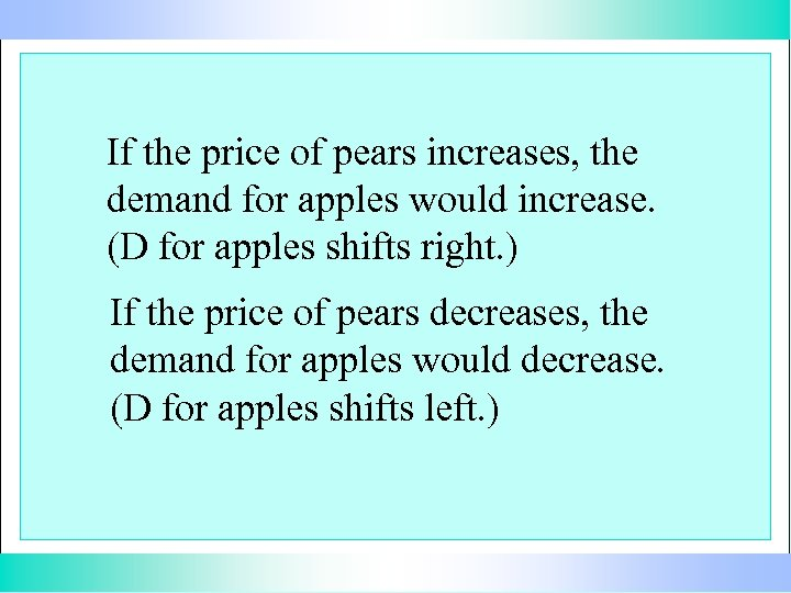 If the price of pears increases, the demand for apples would increase. (D for