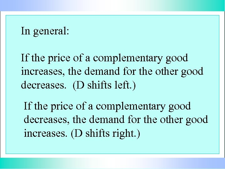 In general: If the price of a complementary good increases, the demand for the